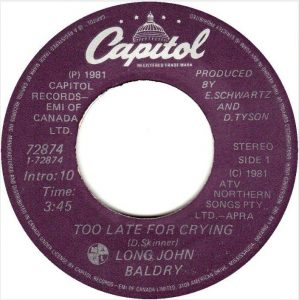Long John Baldry - Too Late For Crying 45 (Capitol Canada).JPG