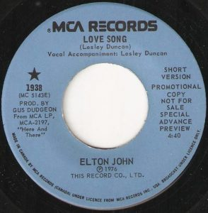 Elton John - Love Song (Short Version) 45 (MCA Promo Canada).JPG