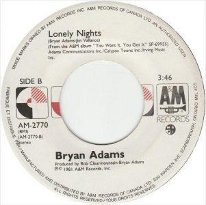 Bryan Adams - Lonely Nights 45 (A&M Canada).JPG