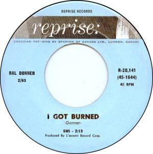 I Got Burned by Ral Donner